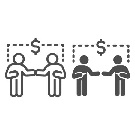 Two businessmen and dollar sign line and solid icon, communication concept, Business people handshake sign on white background, Successful partnership icon in outline style for mobile and web. Vector.