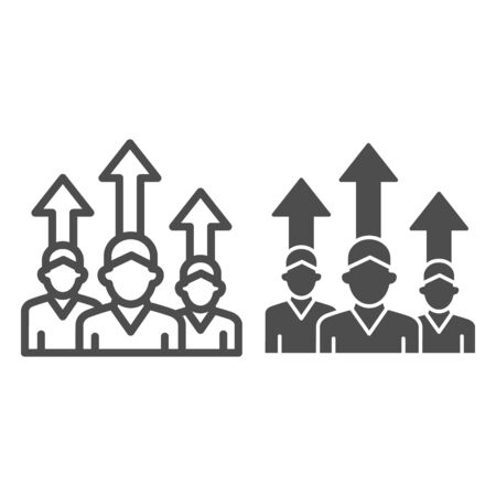 Three people and upward arrows line and solid icon, business concept, employee ambitions and motivation sign on white background, motivated team icon in outline style mobile and web. Vector graphics.