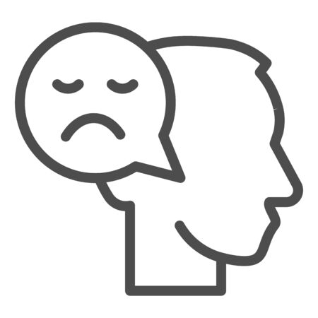 Person with negative thought line icon, communication concept, User with speech bubble sign on white background, human head with sad smile bubble sign in outline style. Vector graphics.