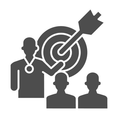 Target with arrow and lecturer solid icon, presentation concept, Leader presents business goal sign on white background, Speaker with achieving goal task icon in glyph. Vector graphics.