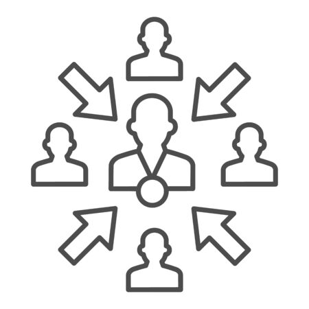 Group of people with leader and arrows thin line icon, teamwork and relationship concept, working group with lead manager sign on white background, leader in organization icon in outline. Vector.