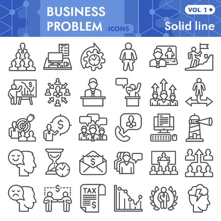Business problem line icon set, problem solving symbols set collection or vector sketches. Marketing signs set for computer web, linear pictogram style package isolated on white background, eps 10.