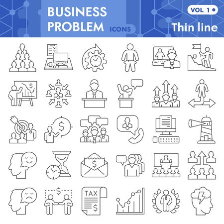 Business problem thin line icon set, problem solving symbols set collection, vector sketches. Marketing signs set for computer web, linear pictogram style package isolated on white background, eps 10.
