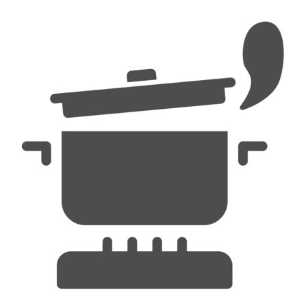 Pan with steam on the gas stove solid icon, Cooking concept, Saucepan on fire sign on white background, boiling pot icon in glyph style for mobile concept and web design. Vector graphics.