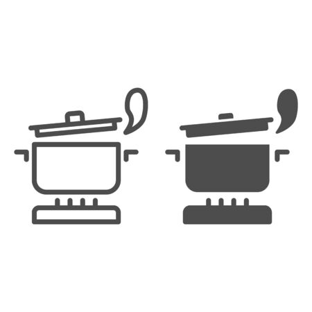 Pan with steam on the gas stove line and solid icon, Cooking concept, Saucepan on fire sign on white background, boiling pot icon in outline style for mobile concept and web design. Vector graphics.