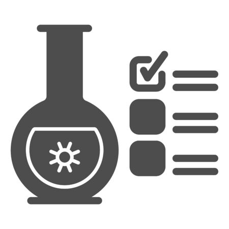 Glass flask for analysis and checkmark solid icon, covid-19 concept, checklist clipboard with tube test sign on white background, coronavirus test results icon glyph style. Vector graphics. Ilustrace