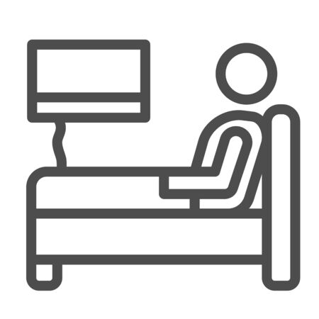 Stay in bed with flu line icon, Home treatment in covid-19 concept, Sick man lying in bed sign on white background, bed rest and recovering icon in outline style for mobile. Vector graphics. 일러스트