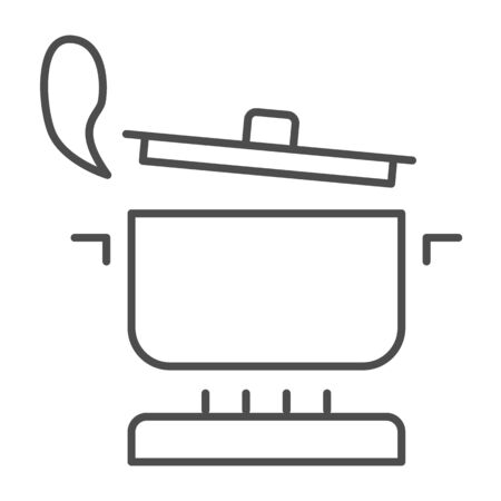 Pan with steam on the gas stove thin line icon, Cooking concept, Saucepan on fire sign on white background, boiling pot icon in outline style for mobile concept and web design. Vector graphics.