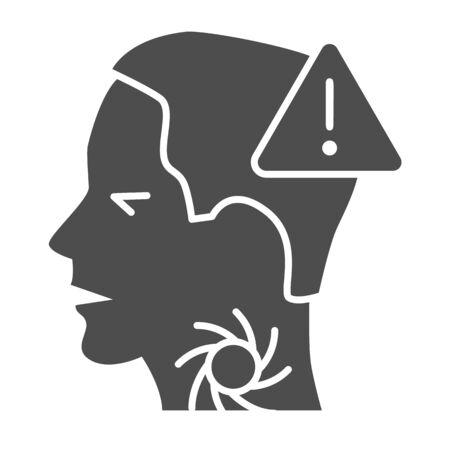 Sore throat with exclamation solid icon, Coronavirus prevention concept, 2019-nCoV symptoms sign on white background, be careful with throat disease icon in glyph style. Vector graphics.