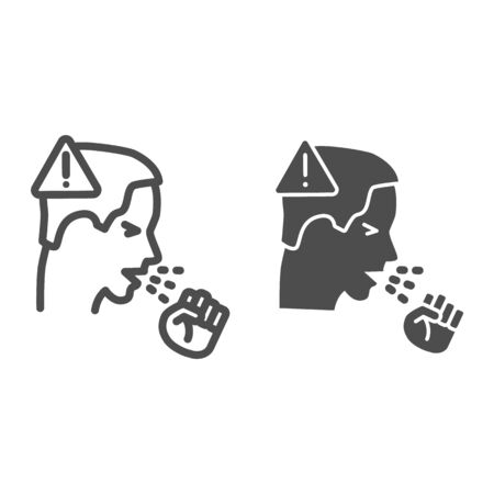 Man coughs with fist and warning sign line and solid icon, covid-19 spread concept, Coronavirus pandemic symptoms sign on white background, be careful and prevent transmission icon, outline style.