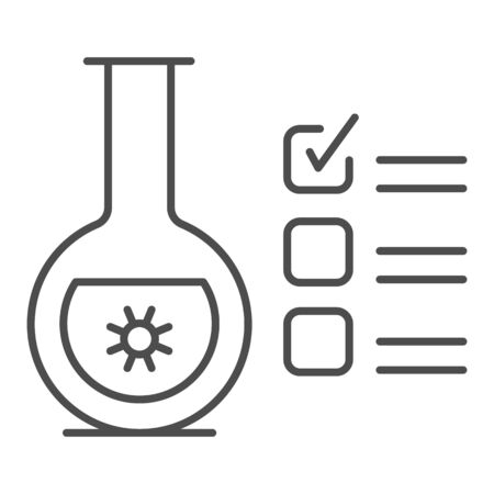 Glass flask for analysis and checkmark thin line icon, covid-19 concept, checklist clipboard with tube test sign on white background, coronavirus test results icon outline style. Vector graphics.