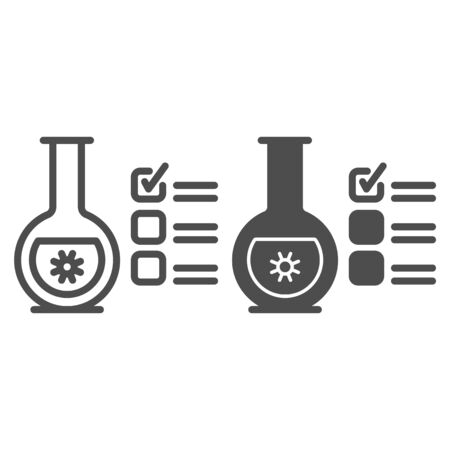 Glass flask for analysis and checkmark line and solid icon, covid-19 concept, checklist clipboard with tube test sign on white background, coronavirus test results icon outline style. Vector graphics.