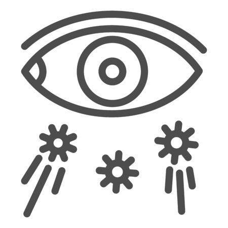 Virus transmission and eye line icon, covid-19 prevention concept, virus spreads through eyes sign on white background, Avoid touching eyes icon in outline style for mobile. Vector graphics.