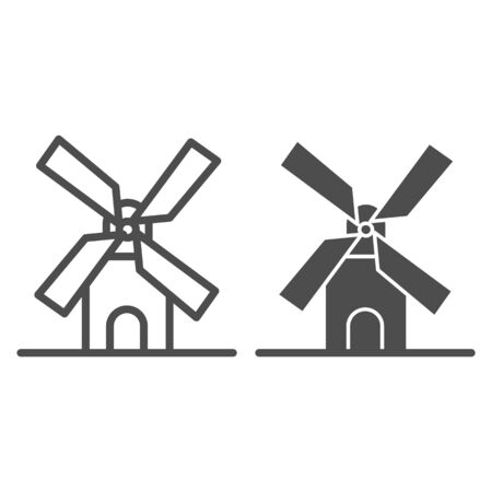 Mill line and solid icon, bakery concept, windmill sign on white background, Wheat factory icon in outline style for mobile concept and web design. Vector graphics. Illusztráció