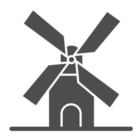 Mill solid icon, bakery concept, windmill sign on white background, Wheat factory icon in glyph style for mobile concept and web design. Vector graphics.