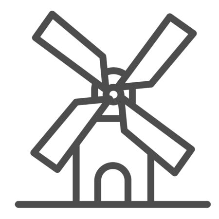 Mill line icon, bakery concept, windmill sign on white background, Wheat factory icon in outline style for mobile concept and web design. Vector graphics. Illusztráció