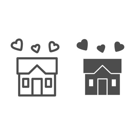House full of love line and solid icon, sweet home concept, building with hearts sign on white background, three hearts under house symbol in outline style for mobile and web design. Vector graphics.