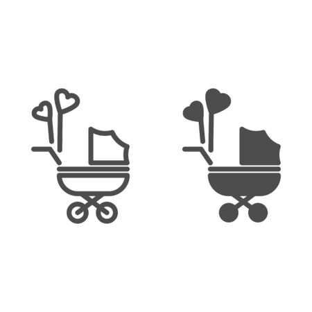 Pram with heart shaped balloons line and solid icon, newborn holiday concept, Baby carriage sign on white background, baby stroller with heart balloon symbol in outline style for mobile, web. Vector. Vettoriali