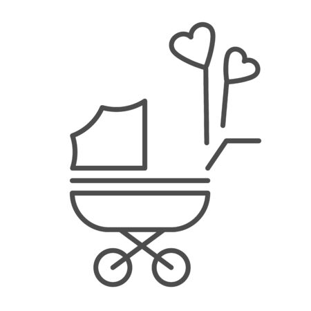 Pram with heart shaped balloons thin line icon, newborn holiday concept, Baby carriage sign on white background, baby stroller with heart balloon symbol in outline style for mobile, web. Vector.