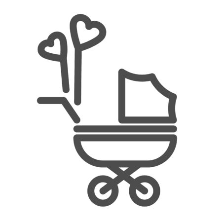 Pram with heart shaped balloons line icon, newborn holiday concept, Baby carriage sign on white background, baby stroller with heart balloon symbol in outline style for mobile, web. Vector. Vettoriali