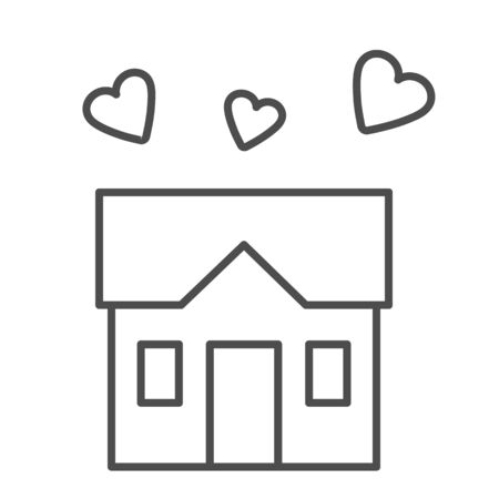 House full of love thin line icon, sweet home concept, building with hearts sign on white background, three hearts under house symbol in outline style for mobile and web design. Vector graphics.