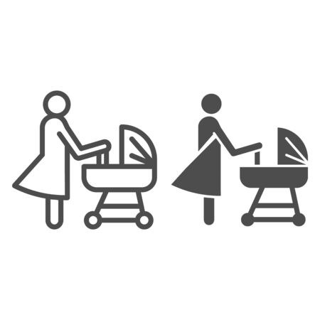 Mother with pram line and solid icon, motherhood concept, Baby carriage sign on white background, Mom with newborn in stroller symbol in outline style for mobile, web. Vector.