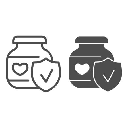 Baby food with approved emblem line and solid icon, first children food concept, Puree glass can with heart sign on white background, Checked jam jar icon in outline style for mobile and web. Vector.