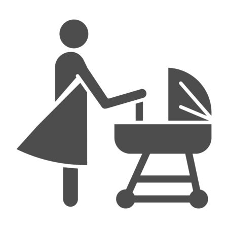 Mother with pram solid icon, motherhood concept, Baby carriage sign on white background, Mom with newborn in stroller symbol in glyph style for mobile, web. Vector. Vettoriali