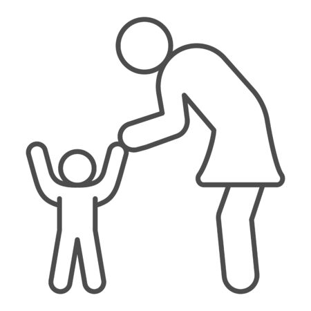 Mother and son thin line icon, 1st June children protection day concept, Mom and her baby sign on white background, Kid and parent icon in outline style mobile and web design. Vector graphics.