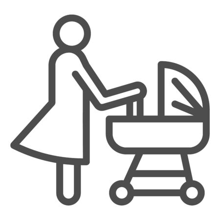 Mother with pram line icon, motherhood concept, Baby carriage sign on white background, Mom with newborn in stroller symbol in outline style for mobile, web. Vector.