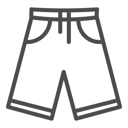 Shorts line icon, Summer concept, Men bermuda shorts sign on white background, Swimming trunks icon in outline style for mobile concept and web design. Vector graphics. Ilustração