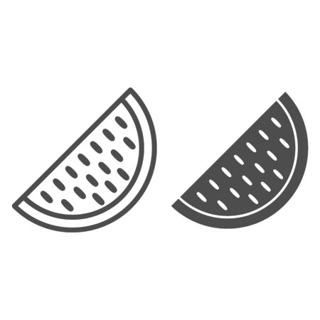 Watermelon line and solid icon, fruits concept, Big watermelon slice with seed sign on white background, Melon icon in outline style for mobile concept and web design. Vector graphics.