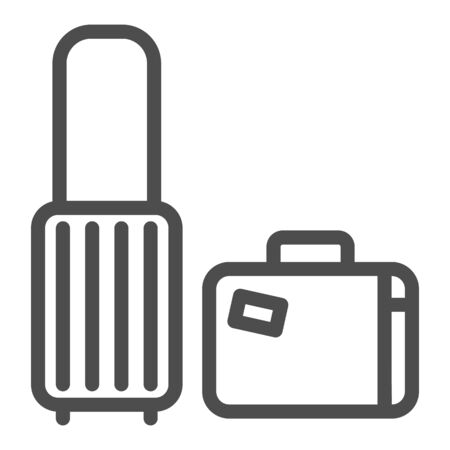 Travel suitcases line icon, luggage concept, Traveling suitcase sign on white background, Set of travel bags icon in outline style for mobile concept and web design. Vector graphics.