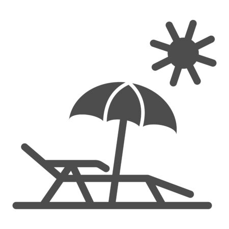 Chaise lounge on beach solid icon, Summer concept, Deck chair with umbrella sign on white background, Beach parasol and lounger icon in glyph style for mobile, web design. Vector graphics. Vector Illustration