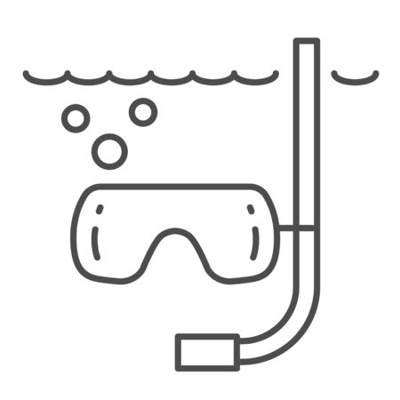 Snorkeling under water thin line icon, Summer concept, swimming equipment sign on white background, Diving tube and mask icon in outline style for mobile concept and web design. Vector graphics.