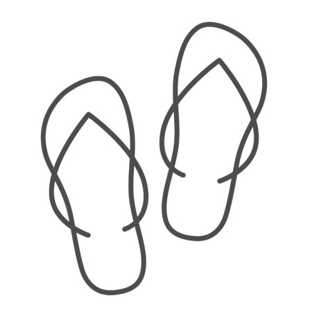 Slippers thin line icon, Summer concept, flip-flop shoes sign on white background, beach slippers icon in outline style for mobile concept and web design. Vector graphics. 向量圖像