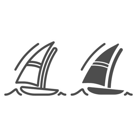 Sailboat line and solid icon, Summer vacation concept, Boat and sea wave sign on white background, yacht icon in outline style for mobile concept and web design. Vector graphics.