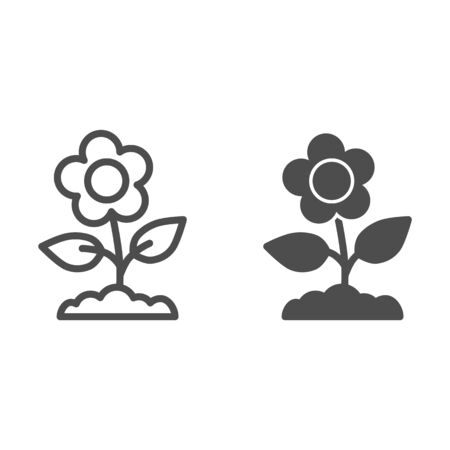 Flower line and solid icon, floral concept, Spring flower with leaves sign on white background, buttercup flower icon in outline style for mobile concept and web design. Vector graphics.
