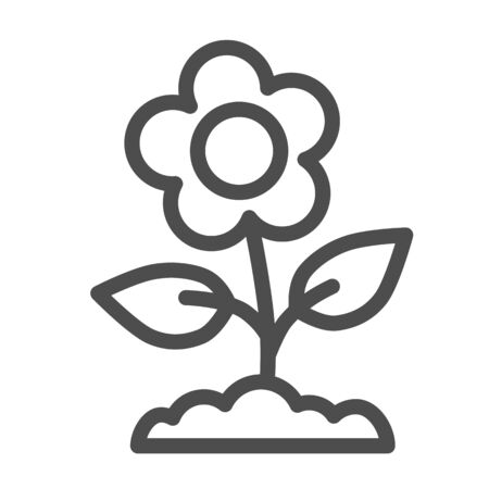 Flower line icon, floral concept, Spring flower with leaves sign on white background, buttercup flower icon in outline style for mobile concept and web design. Vector graphics.