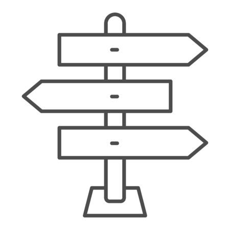 Wooden arrow signboards thin line icon, travel concept, Wooden way direction sign on white background, guidepost icon in outline style for mobile concept and web design. Vector graphics