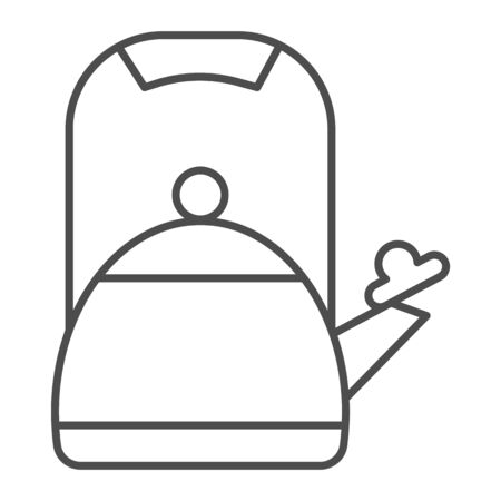 Teapot thin line icon, kitchen appliance concept, Kettle with whistle sign on white background, kitchen teapot icon in outline style for mobile concept and web design. Vector graphics.