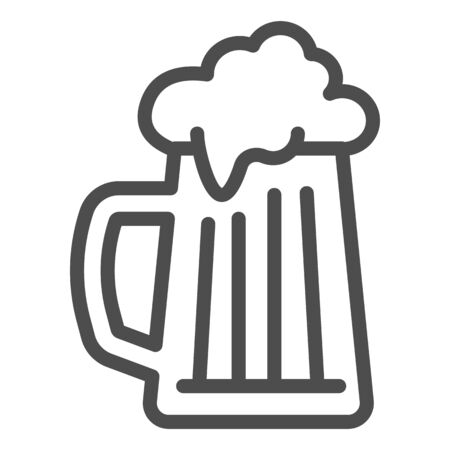 Beer mug line icon, summer concept, cold beer with foam sign on white background, Glass of alcohol drink icon in outline style for mobile concept and web design. Vector graphics