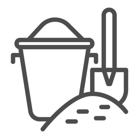 Bucket with sand and shovel line icon, summer concept, sand in bucket on beach sign on white background, toys for sandbox icon in outline style for mobile and web design. Vector graphics.