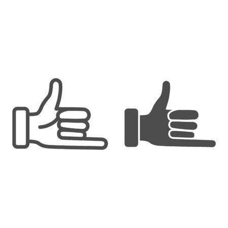 Promise hand gesture line and solid icon, gestures concept, fist with elongated little finger sign on white background, thumb and pinky finger icon in outline style for mobile and web. Vector graphic