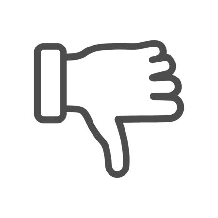 Dislike gesture line icon, gestures concept, Thumbs down finger sign on white background, unlike gesture icon in outline style for mobile concept and web design. Vector graphics.