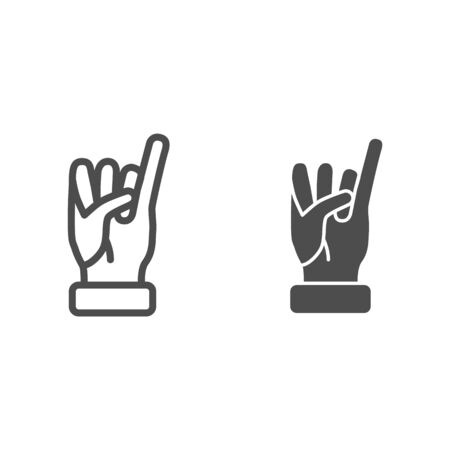 Little finger of human hand raised up line and solid icon, gestures concept, little finger making promise sign on white background, gesture of promise icon in outline style for mobile. Vector graphic. Vectores