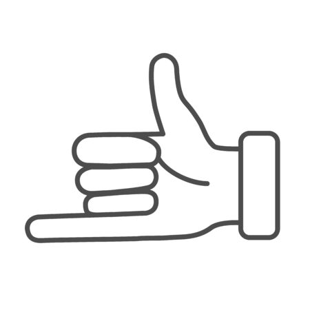 Promise hand gesture thin line icon, gestures concept, fist with elongated little finger sign on white background, thumb and pinky finger icon in outline style for mobile and web. Vector graphic.