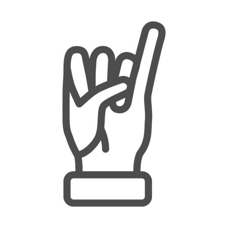 Little finger of human hand raised up line icon, gestures concept, little finger making promise sign on white background, gesture of promise icon in outline style for mobile. Vector graphic.