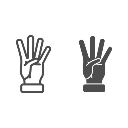 Four fingers gesture line and solid icon, gestures concept, count numbers on palm sign on white background, hand showing four fingers icon in outline style for mobile and web design. Vector graphics.