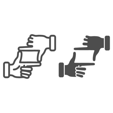Hands in photo frame gesture line and solid icon, gestures concept, Human hands doing cropping sign on white background, photographer hand gesture icon in outline style for mobile. Vector graphics.